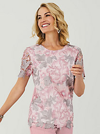 Alfred Dunner® Floral Lace Knit Top