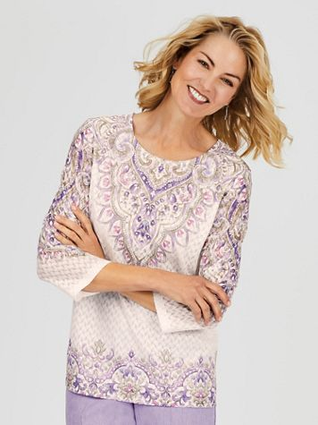 Alfred Dunner® Scroll Yoke and Border Knit Top