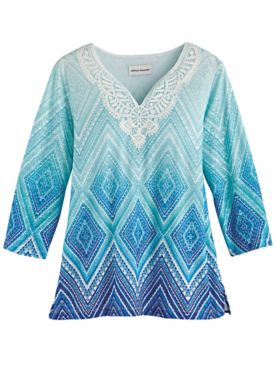 Alfred Dunner® Sea You There Diamond Lace Top