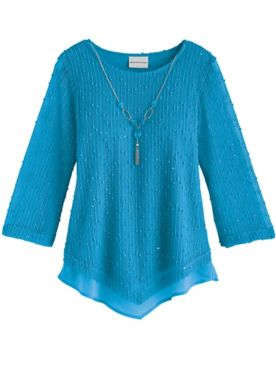 Alfred Dunner® Sea You There Popcorn Knit Top