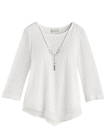 Alfred Dunner® Sea You There Popcorn Knit Top - Image 2 of 2