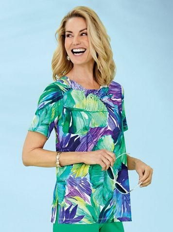 Alfred Dunner® Costa Rica Tropical Leaves Knit Top
