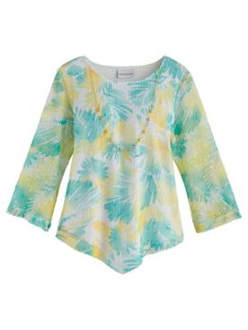 Alfred Dunner® Spring Lake Floral Mesh Knit Top