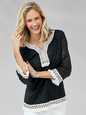 Alfred Dunner® Checkmate Texture Lace-Trim Top