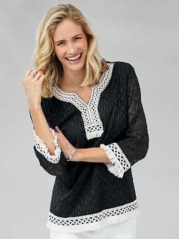 Alfred Dunner® Checkmate Texture Lace-Trim Top - Image 0 of 2
