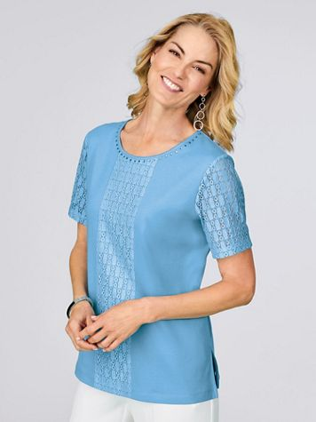 Alfred Dunner® Center Lace Classic Knit Top - Image 1 of 4