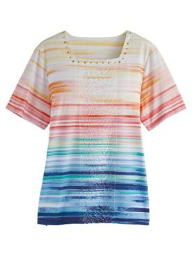 Alfred Dunner® Ombré Stripe Center Lace Print Top
