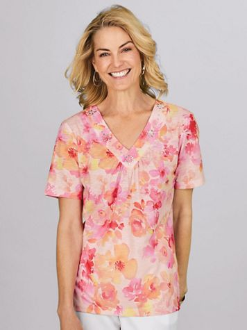 Alfred Dunner® Watercolor Flowers Print Top