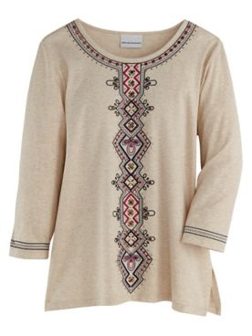 Alfred Dunner® Panama City Center-Embroidery Top