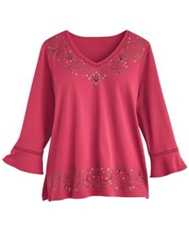 Alfred Dunner® Panama City Heatset Scroll Top