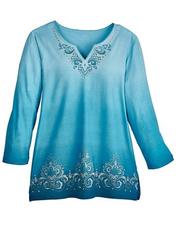 Alfred Dunner® Colorado Springs Ombré Scroll Embroidered Top - Image 2 of 2