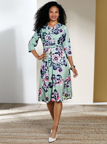 Koret® Three-Quarter Sleeve Side-Knot Dress - Image 1 of 9