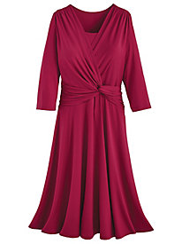 Koret® Three-Quarter Sleeve Side-Knot Dress