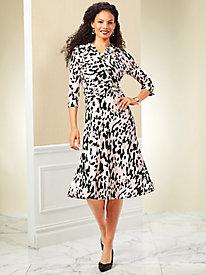 Koret® Three-Quarter Sleeve Side-Knot Dress