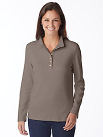 Essential Solid Long-Sleeve Cotton Henley