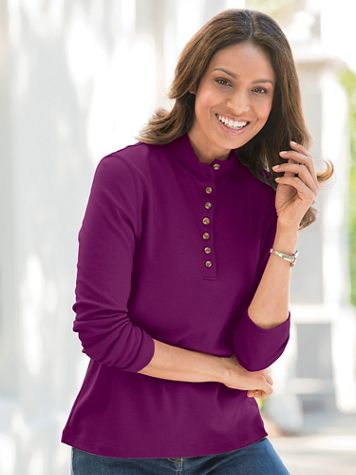 Essential Cotton Knit Long-Sleeve Henley - Image 1 of 12