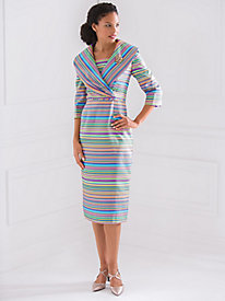 Shawl Collar Striped Dress with FREE Brooch