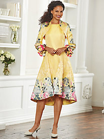 Border Jacquard Jacket Dress