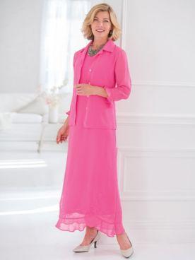 Embroidered Georgette Jacket Dress
