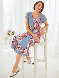Crinkle And Lace Print Dress