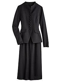 Funnel Collar Skirt Suit