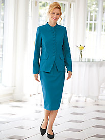 Funnel Collar Skirt Suit