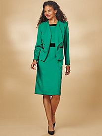 Colorblock Jacket Dress With Zip Pockets