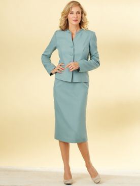 Ruched Collar Skirt Suit