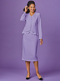 Double Peplum Embroidered Skirt Suit