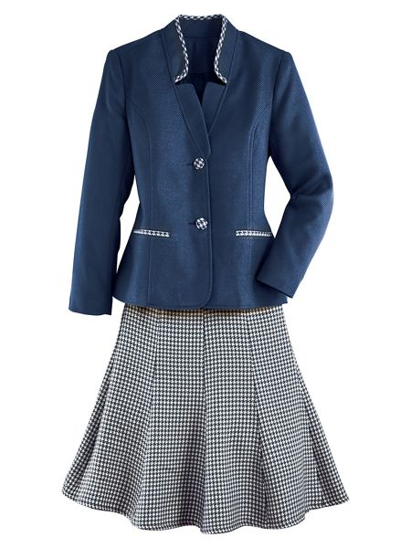 Women's 1940s Victory Suits and Utility Suits Houndstooth Skirt Suit $79.99 AT vintagedancer.com