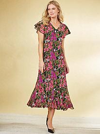 Print Godet Dress by Old Pueblo Traders