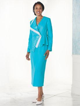 Contrast Collar Skirt Suit By Regalia®