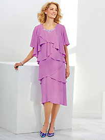 Tiered Chiffon Jacket Dress