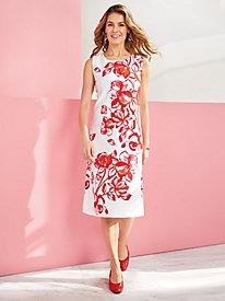 Red Blooms Knit Sheath Dress