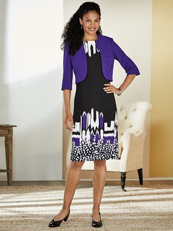 Abstract Print Jacket Dress