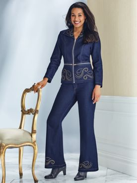 Embellished Stretch Denim Pants Set by Regalia®
