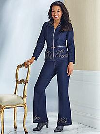 Embellished Stretch Denim Pants Set by Regalia®