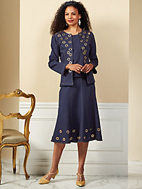 Stretch Denim Grommet Skirt Suit by Regalia®