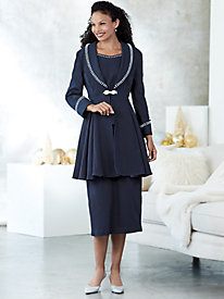 Faux Pearl Accented Denim Skirt Suit by Regalia®