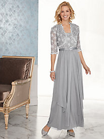 Sequined Lace and Chiffon Jacket Dress