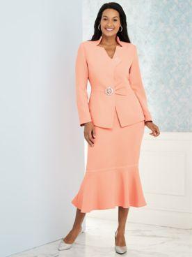 Embellished Skirt Suit