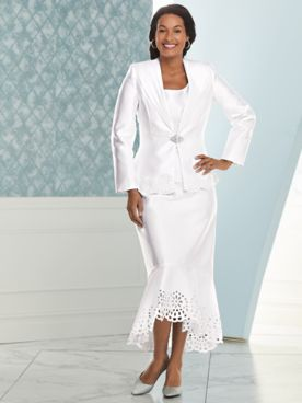 Cutwork Skirt Suit