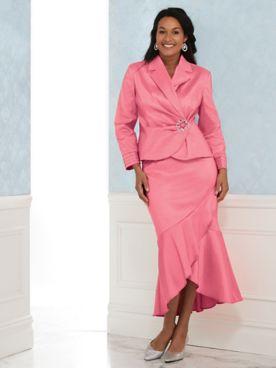 Stretch Taffeta Skirt Suit