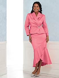 Stretch Taffeta Skirt Suit