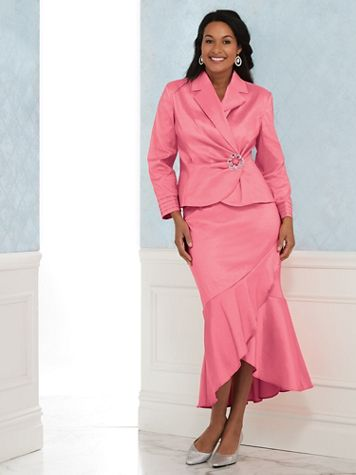 Stretch Taffeta Skirt Suit - Image 2 of 2