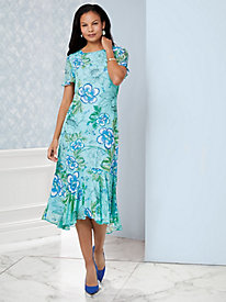 Ruffled Sleeve Print Dress