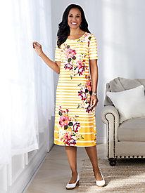 Embellished Knit Print Dress