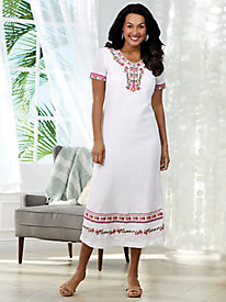 Embroidered Crinkled Cotton Dress