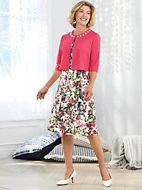 Floral Print Lace Jacket Dress