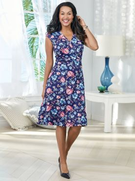 O-Ring Floral Print Dress